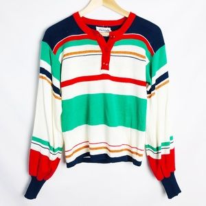 Vintage Checkmate Stripe Acrylic Pullover Sweater